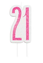 Pink Glitz 21st Birthday Glitter Candle