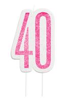Pink Glitz 40th Birthday Glitter Candle