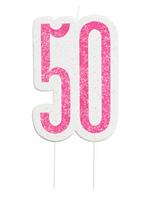 Pink Glitz 50th Birthday Glitter Candle