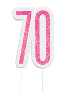 Pink Glitz 70th Birthday Glitter Candle