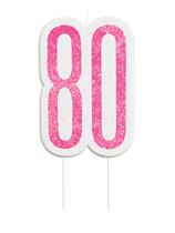 Pink Glitz 80th Birthday Glitter Candle