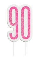 Pink Glitz 90th Birthday Glitter Candle