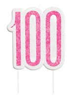 Pink Glitz 100th Birthday Glitter Candle