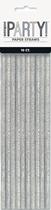 Silver Glitz Foil Paper Straws 10pk