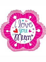 """Mother's Day I Love You Mum Pink Flower 18"""" Foil Balloon"""