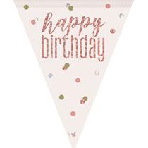 Rose Gold Glitz Happy Birthday Prismatic Plastic Flag Banner
