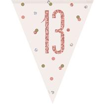 Rose Gold Glitz 13th Birthday Prismatic Plastic Flag Banner