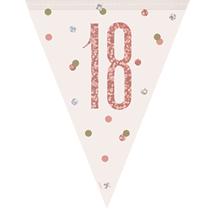 Rose Gold Glitz 18th Birthday Prismatic Plastic Flag Banner