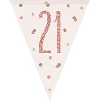 Rose Gold Glitz 21st Birthday Prismatic Plastic Flag Banner