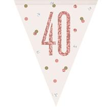 Rose Gold Glitz 40th Birthday Prismatic Plastic Flag Banner