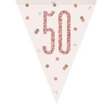 Rose Gold Glitz 50th Birthday Prismatic Plastic Flag Banner