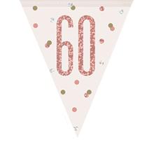 Rose Gold Glitz 60th Birthday Prismatic Plastic Flag Banner