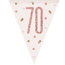 Rose Gold Glitz 70th Birthday Prismatic Plastic Flag Banner