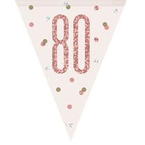 Rose Gold Glitz 80th Birthday Prismatic Plastic Flag Banner