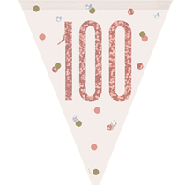 Rose Gold Glitz 100th Birthday Prismatic Plastic Flag Banner