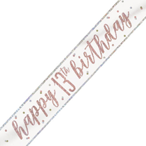Rose Gold Glitz Happy 13th Birthday Foil Banner