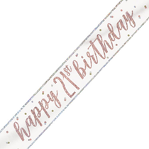 Rose Gold Glitz Happy 21st Birthday Foil Banner