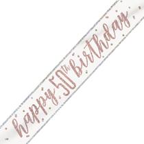 Rose Gold Glitz Happy 50th Birthday Foil Banner