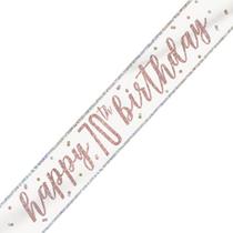 Rose Gold Glitz Happy 70th Birthday Foil Banner