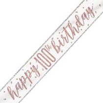 Rose Gold Glitz Happy 100th Birthday Foil Banner