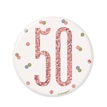 "Rose Gold Glitz 50th Birthday 3"" Badge"