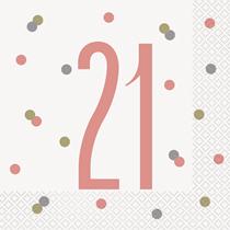 Rose Gold Glitz 21st Birthday Napkins 16pk