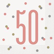 Rose Gold Glitz 50th Birthday Napkins 16pk