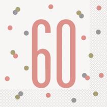 Rose Gold Glitz 60th Birthday Napkins 16pk