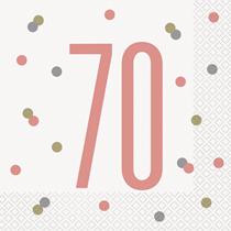 Rose Gold Glitz 70th Birthday Napkins 16pk