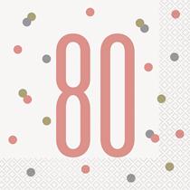 Rose Gold Glitz 80th Birthday Napkins 16pk