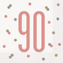 Rose Gold Glitz 90th Birthday Napkins 16pk