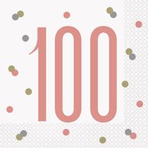 Rose Gold Glitz 100th Birthday Napkins 16pk