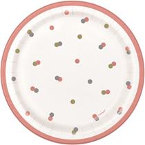 "Rose Gold Glitz 7"" Paper Plates 8pk"