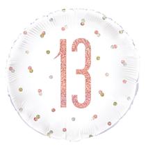 "Rose Gold Glitz 13th Birthday 18"" Foil Balloon"