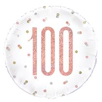 "Rose Gold Glitz 100th Birthday 18"" Foil Balloon"