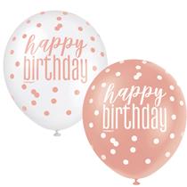 "Rose Gold Glitz & White Happy Birthday 12"" Latex Balloons 6pk"