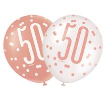 "Rose Gold Glitz & White 50th Birthday 12"" Latex Balloons 6pk"