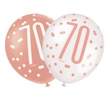 "Rose Gold Glitz & White 70th Birthday 12"" Latex Balloons 6pk"