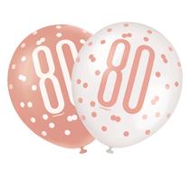 "Rose Gold Glitz & White 80th Birthday 12"" Latex Balloons 6pk"