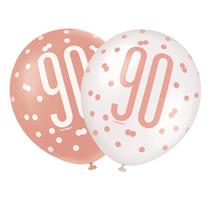 "Rose Gold Glitz & White 90th Birthday 12"" Latex Balloons 6pk"
