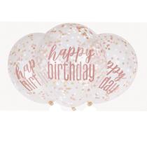 Rose Gold Glitz Happy Birthday Confetti Filled Latex Balloons 6pk