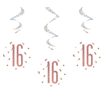 Rose Gold Glitz 16th Birthday Hanging Swirl Decorations 6pk