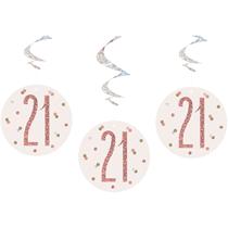 Rose Gold Glitz 21st Birthday Hanging Swirl Decorations 6pk