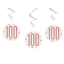 Rose Gold Glitz 100th Birthday Hanging Swirl Decorations 6pk