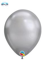 """Qualatex Chrome 7"""" Silver Latex Balloons 100pk"""