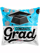 "Blue Congrats Grad 18"" Square Foil Balloon"