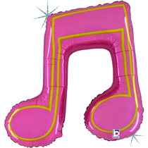 """Pink Holographic Music Note 40"""" Foil Balloon"""