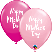 """Mother's Day Script Pink & Berry 11"""" Latex Balloons 25pk"""