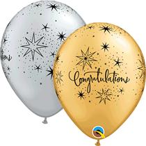 Congratulations Silver & Gold Latex Balloons 25pk