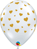 Gold Hearts Around Diamond Clear Latex 25pk